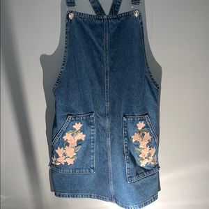 Topshop Denim Flower Jumper Dress